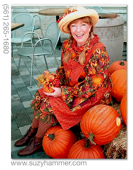 Suzy Hammer portrays Pumpkin Patty, a cheerleader for locally grown, organic foods - like pumpkins.